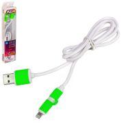 Кабель PULSO USB - Micro USB/Apple  1m green (круглый)