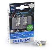 PHILIPS PHI129644000KX2 Автомобильная лампа: 12 [В] T10 X-treme Ultinon LED 1W цоколь W2.1 x D9.5 4 000K Белый