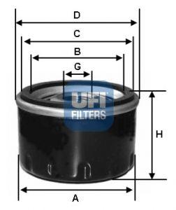 2325900 UFI Масляный фильтр на SUBARU