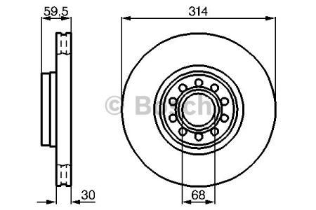 0986478617 BOSCH Тормозной диск на AUDI