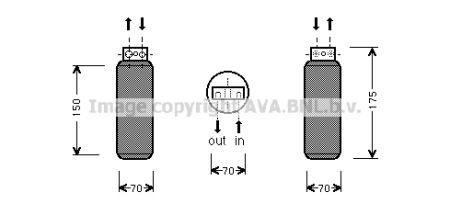 AVA AOLD288 OL-VEC B/Осушитель 1.6i (±A), 1.6i 16V (±A), 1.8i 16V (±A), 2.0i 16V (±A), 2.5i 24V (±A), 2.0Di 16V  купить недорого