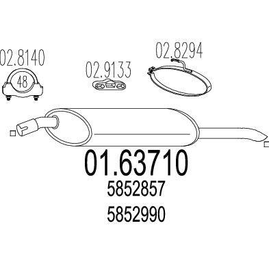 MTS MTS0163710 Задняя часть выхлопной системы (Глушитель). Купить недорого