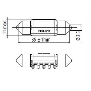 PHILIPS PHI128584000KX1 Автомобильная лампа: 12 [В] Ксенон C5W X-tremeVision LED цоколь SV8,5-8 4000K white Купить недорого