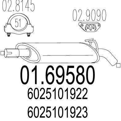 MTS MTS0169580 Задняя часть выхлопной системы (Глушитель). купить недорого